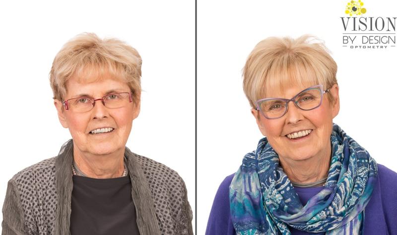 eyewear makeover happy woman optometry edmonton