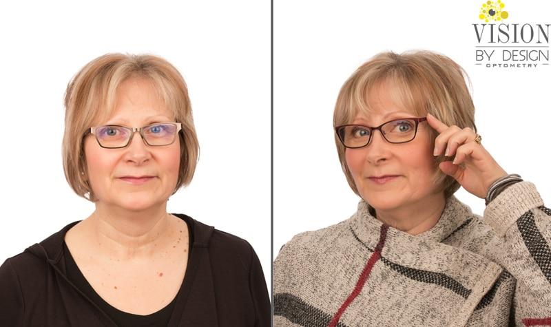 eyewear makeover woman in sweater optometrist edmonton