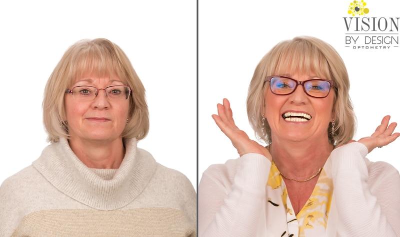eyewear makeover smiling woman optometrist edmonton