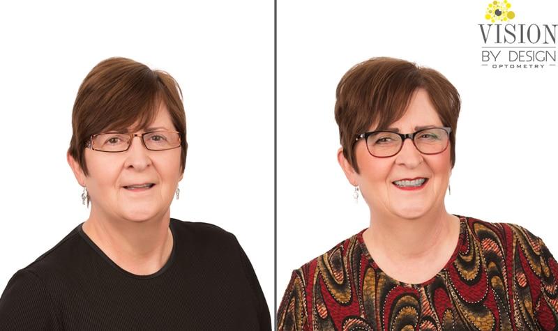 eyewear makeover woman in patterned blouse optometry edmonton