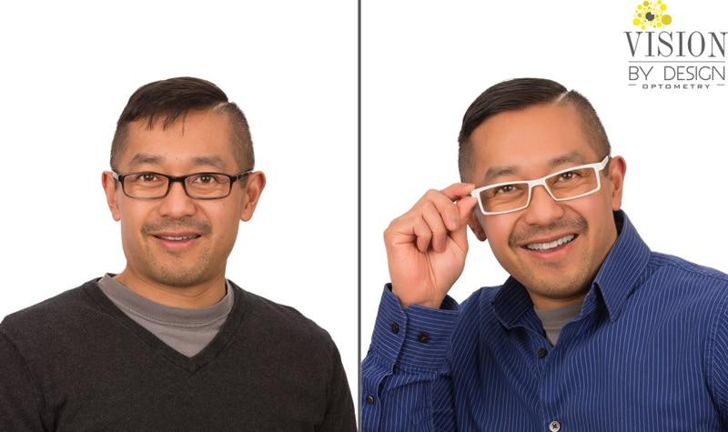 eyewear makeover smiling asian man optometrist edmonton