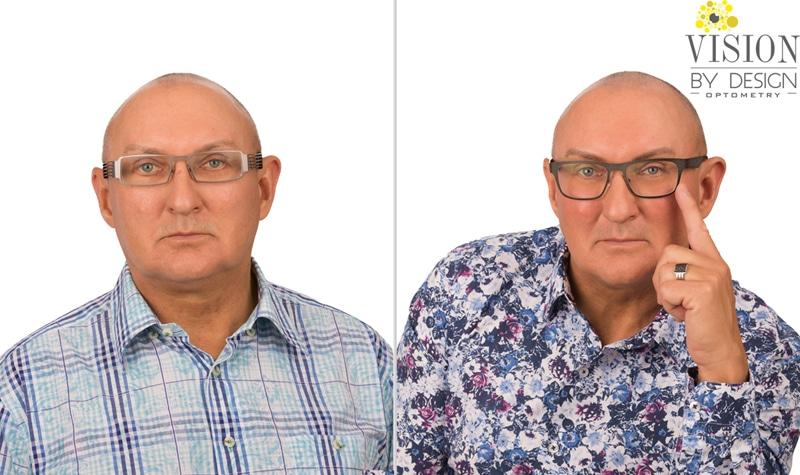 eyewear makeover man in patterned shirt optometrist edmonton