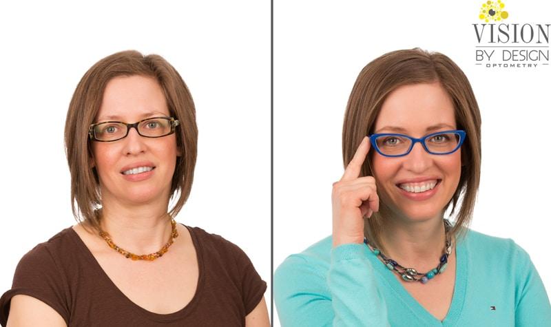 eyewear makeover turquoise shirt optometrist edmonton