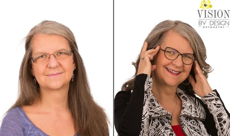 eyewear makeover long haired woman optometry edmonton
