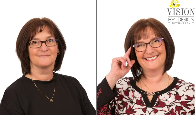 eyewear makeover woman in flower blouse optometrist edmonton