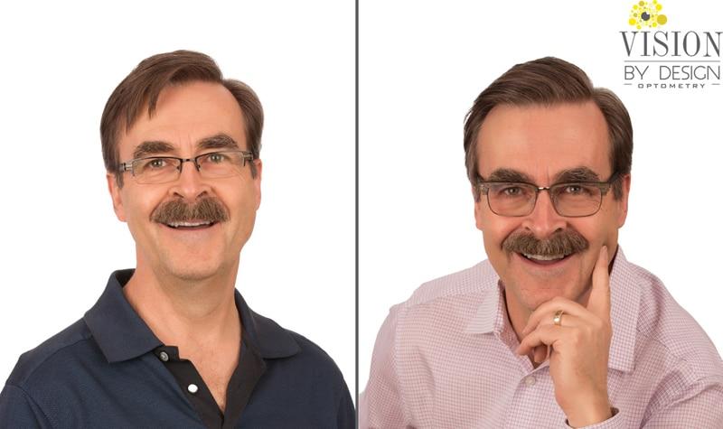 eyewear makeover man with moustache optometry edmonton