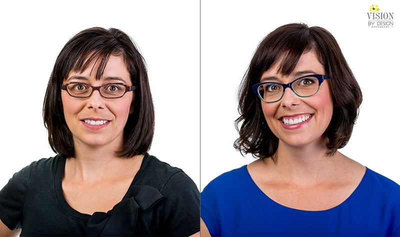woman in blue before and after custom eyewear makeover