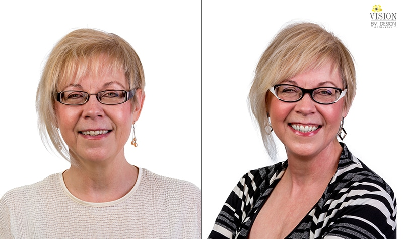 woman in striped sweater before and after custom eyewear makeover