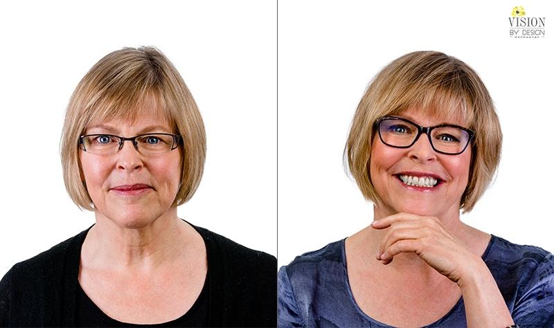 smiling woman custom eyewear makeover