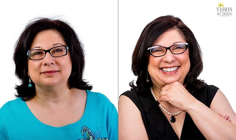 happy woman eyewear makeover optometry edmonton